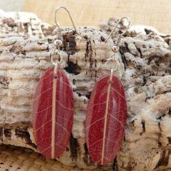 Boucles d'oreilles Originales Rouge Foncé en Véritables Petites Feuilles d'Arbre