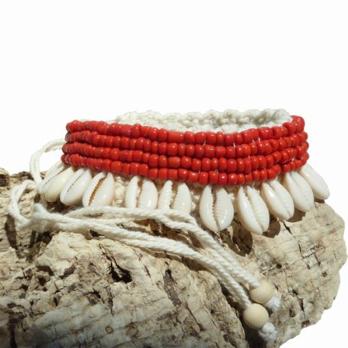 Bracelet de Cheville en coton et Coquillages Cauris Perles de rocaille noires