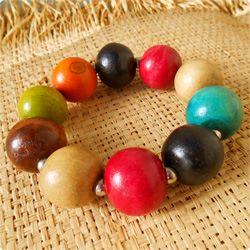 Bracelet en Bois Perles Boules Multicolores