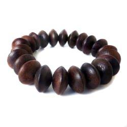 Bracelet original Perles soucoupes en bois naturel