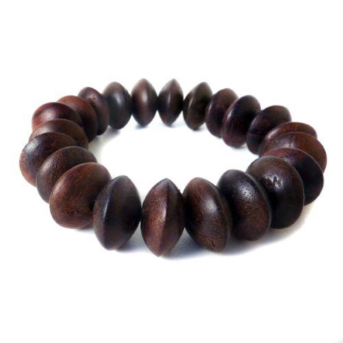Bracelet en bois original Perles soucoupes en bois naturel