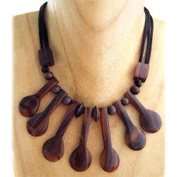 Collier original à lamelles en bois exotique naturel Fantaisie ethnique