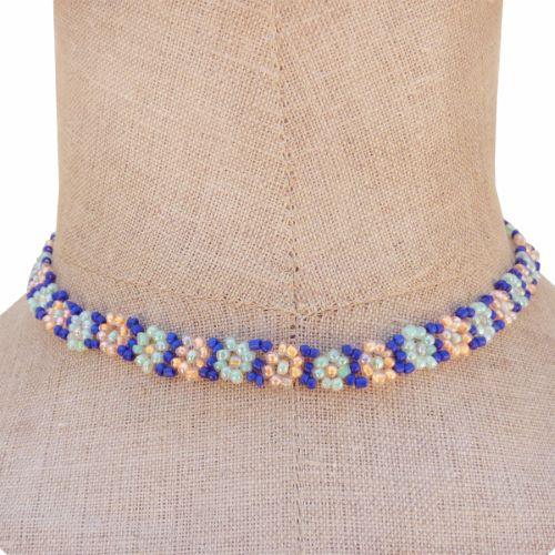 Collier fleurs en perles de rocaille Saumon Vert Bleu Artisanal