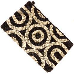 Pochette noire et beige brodée en perles de rocailles