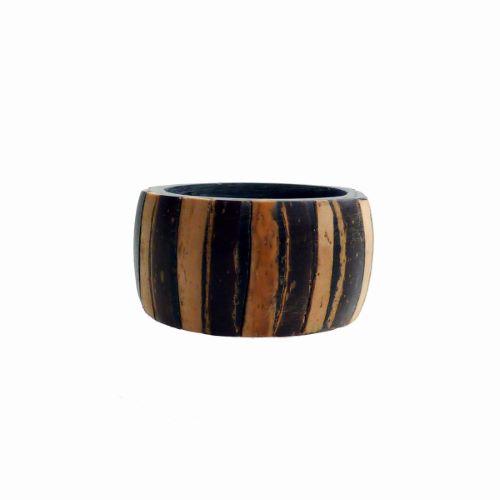 Bague anneau unisexe large en résine et noix de coco