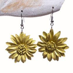 Boucles d'oreille Originales en cuir Fleurs Jaune Clair