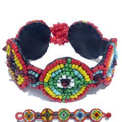Bracelet multicolore Broderie de perles de rocailles