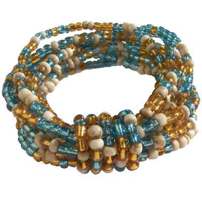 Bracelet en grosses perles de Rocaille Mix Bleu beige doré