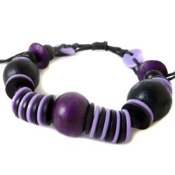 Bracelet original Perles en bois et boutons artisanal Parme et Violet