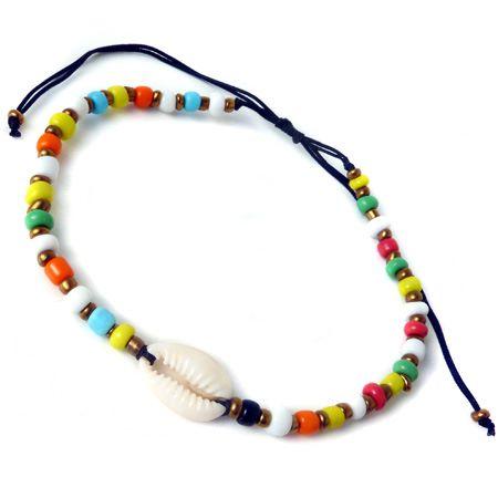 chaine de cheville coquillage cauri et perles multicolores fait main