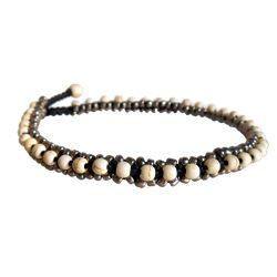 Chaîne de cheville Bracelet Beige Bronze Fait Main