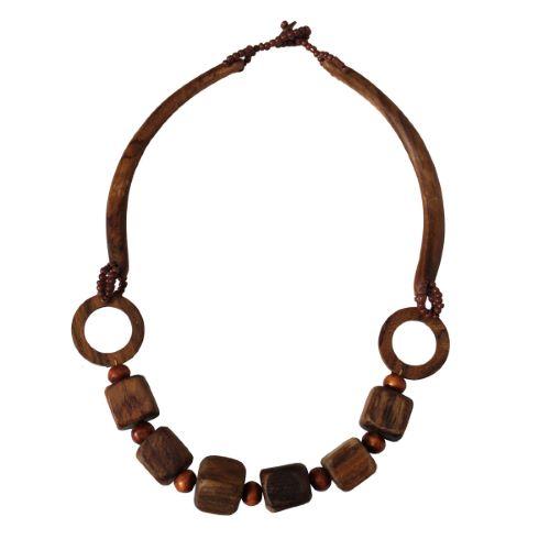Collier Original avec grosses perles cubes en Bois naturel