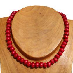 Collier bois perles rouges Un rang Pour Homme ou Femme