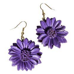 Boucles d'oreille Fleurs Marguerites en cuir Mauve