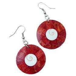 Boucles d'oreilles rondes en Corail Rouge avec oeil de Lucie