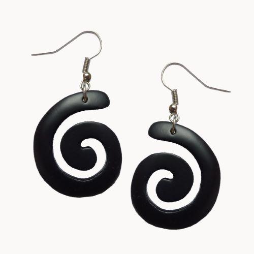 Boucles d'oreilles en bois petites spirales noires