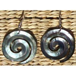 Boucles d'oreilles Spirales en Nacre naturelle - Artisanat de Bali