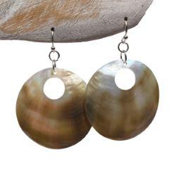 Boucles d'oreilles Rondes en Nacre Mother of Pearl