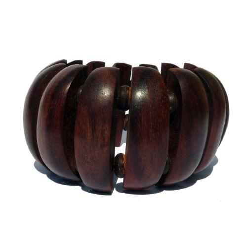 Bracelet en bois lamelles arrondies et perles en noix de coco