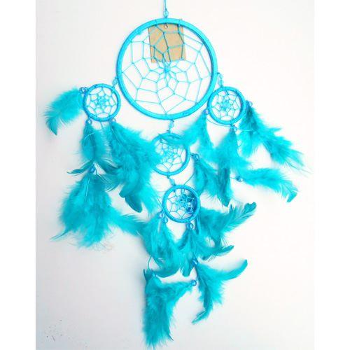 Dreamcatcher Attrape-Rêves Turquoise Perles et Plumes