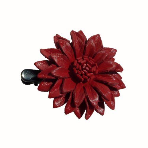 Pince à cheveux avec Fleur en cuir rouge foncé