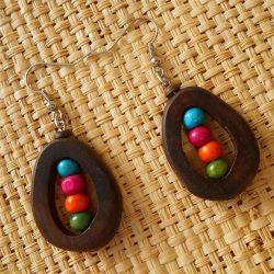 Boucles d'Oreille en Bois originales forme et perles colorées