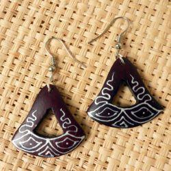 Boucles d'oreilles en Bois Peintes à la main style ethnique