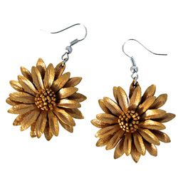 Boucles d'oreille Originales en cuir Fleurs Marguerites Dorées cuivrées