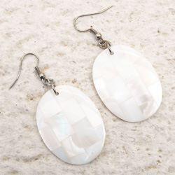 Boucles d'oreilles Ovales Mosaiques de Nacre Blanche