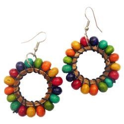 Boucles d'oreilles Perles bois multicolore sur anneau en coco