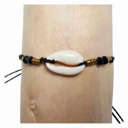 Bracelet cauris sur cordon noir perles à facettes noires et rocailles bronzes