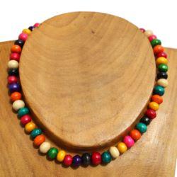 Collier bois perles multicolores Un rang