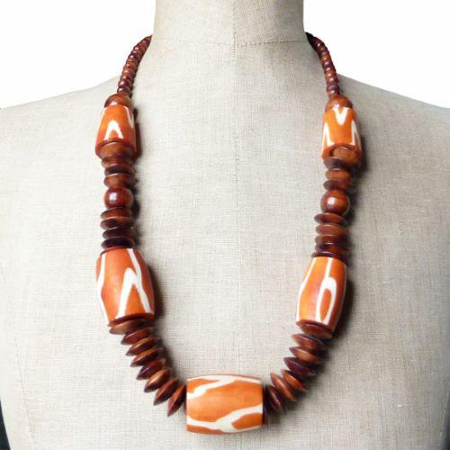 Collier en bois et en os Original Imposant style Ethnique Orange et Marron