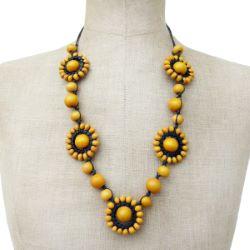 Collier Jaune original soleils en perles de bois