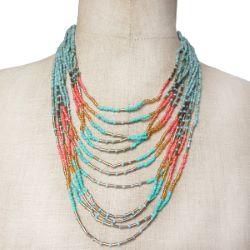 Collier rangs de perles de rocaille bleu antique vert-bleu rouge doré bronze