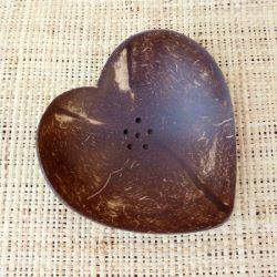 Porte savon en noix de coco en forme de Coeur