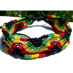 Bracelet Rasta sur cordon en perles de rocaille Bracelet rasta ajustable