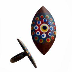 Bague en bois forme oeil originale décor peint à points et oeil turc