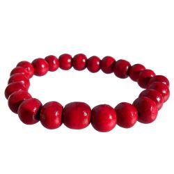 Bracelet bois un rang de perles rouges sur élastique