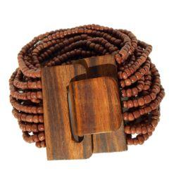 Bracelet Original Fermoir en Bois et Perles de Rocailles marrons