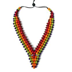 Collier Col en V Perles en Bois mix couleurs Original - Anis Orange Rouge Violet Marron