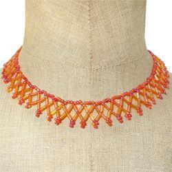 Collier Collerette fine Orange perles rocailles et tubes Artisanal