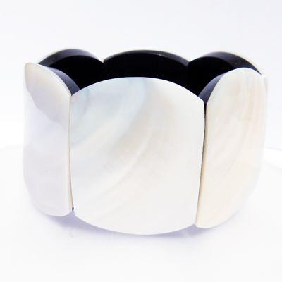 Bracelet nacre blanche gros bracelet artisanal en nacre et résine sur élastiques