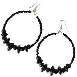 Boucles d'Oreilles Noires Anneaux Style Créoles Rocailles et Perles en Bois