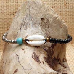 Bracelet cauri original ajustable perles noires argents et bleue