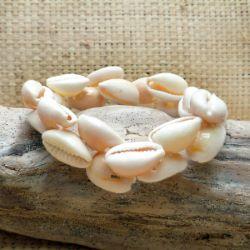 Bracelet en coquillage cauris entiers sur élastiques