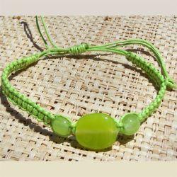 Bracelet cordon et pâte de verre Vert anis