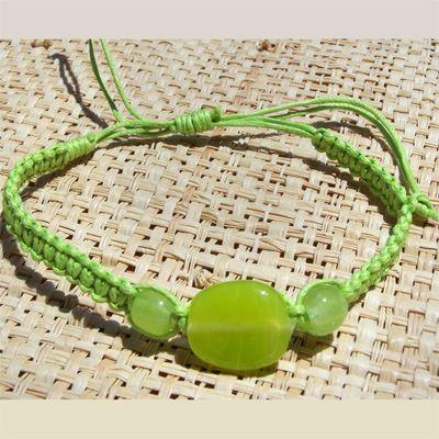 Bracelet cordon pour poignet ou cheville perle en pâte de verre Vert anis