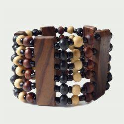 Bracelet en bois élastique large bois et rocailles