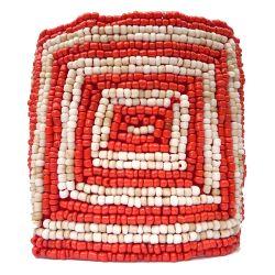 Bracelet manchette motif géométrique broderie en perles de rocaille Rouge et Beige